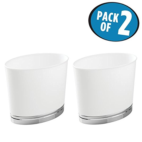 mDesign Oval Slim Decorative Plastic Small Trash Can Wastebasket, Garbage Container Bin for Bathrooms, Kitchens, Home Offices, Dorm Rooms - Pack of 2, White/Chrome Finish Base