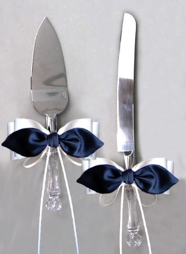 - Black Satin Bow White Ribbon Cake Knife and Server Set for Wedding or Ceremony