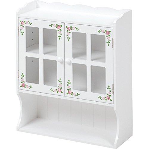 卓上に可愛い収納 カウンター上ラック 2枚扉 幅42cm / 小さい食器棚 ミニ食器棚 スパイスラック 調味料ラック B07C3HSQN7