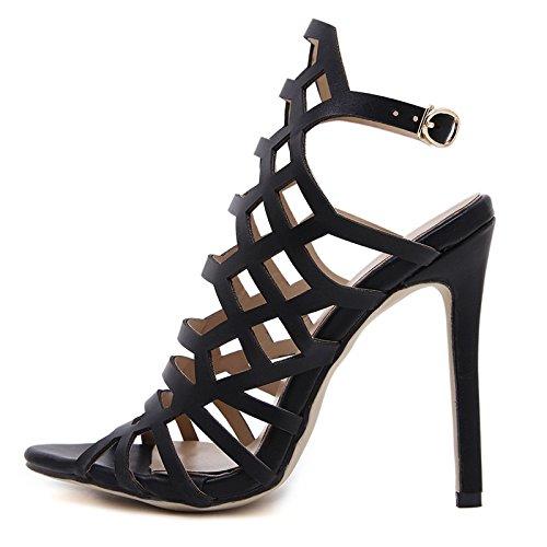 YMFIE Ahuecó Vendas Toe Toe Sandalias de tacón Alto señoras Sexy Sexy Zapatos de tacón Alto en Verano a