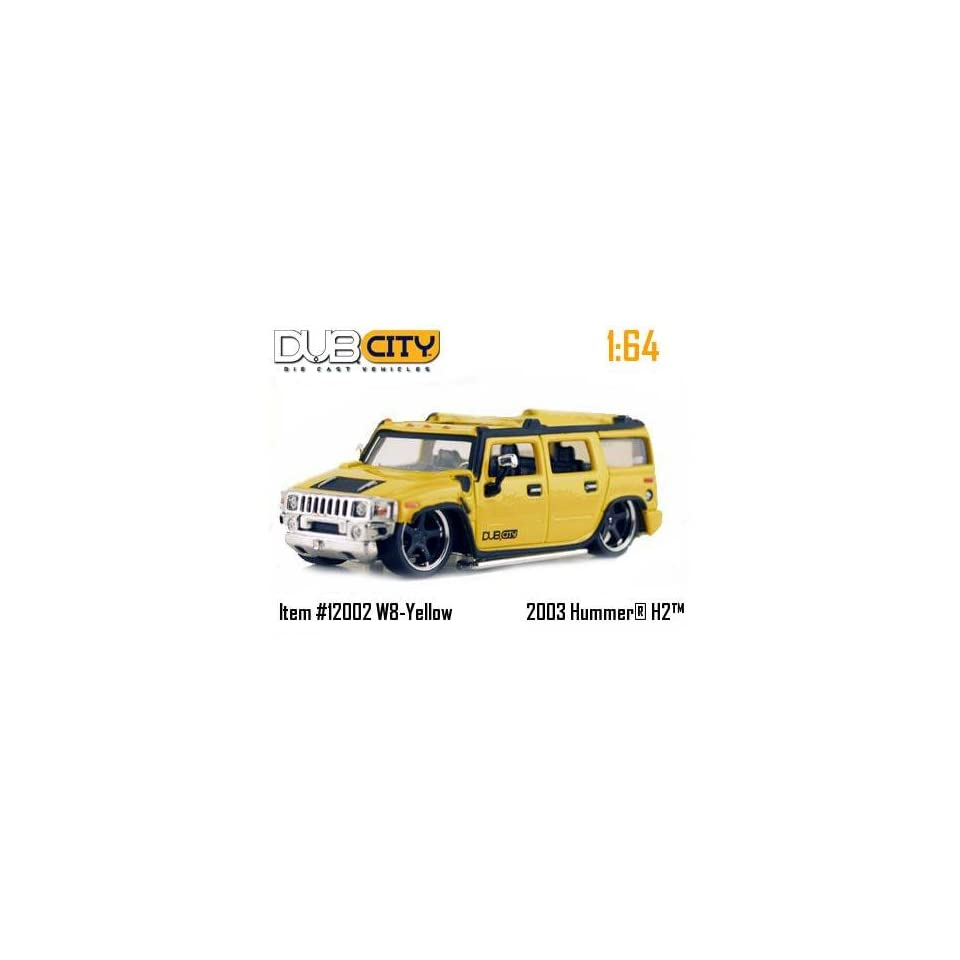 Jada Dub City Yellow 2003 Hummer H2 164 Scale Die Cast Truck