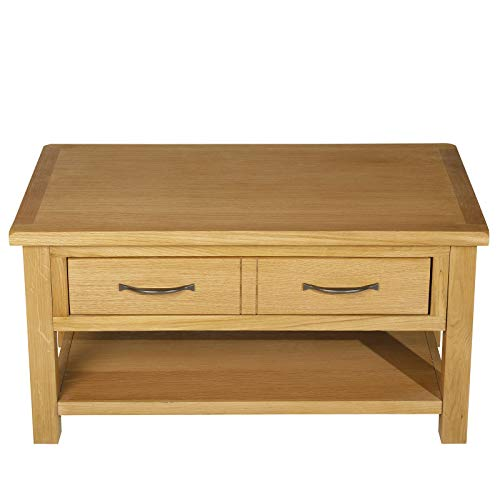 Wooden Coffee Tea Table with Large Drawer and Bottom Storage Shelf Solid Oak Wood Frame Wide Tabletop Ideal for Dining Working Placing Footrest Storing Remote Control Books Magazine Photo Album