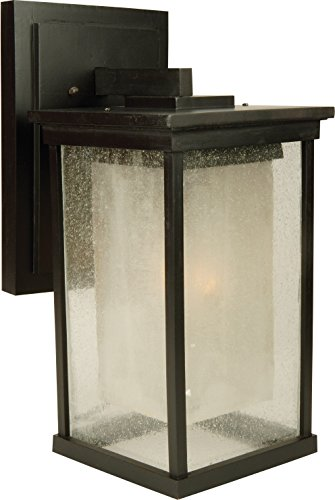 Craftmade Z3724-92-NRG Wall Lanterns with Clear Seeded Outer & Frosted Amber Inner Glass Shades, Oiled Bronze