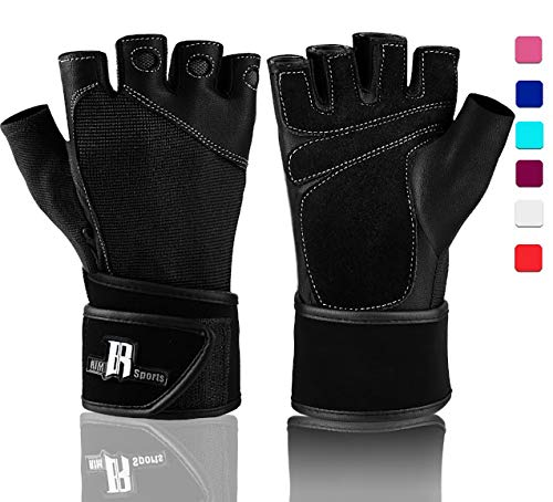 Weight Lifting Gloves with Wrist Wraps - Ideal Training Gloves - Premium Workout Gloves with Wrist Support - Best Sport Gloves - Gym Gloves (Black - Training Wrap Wrist