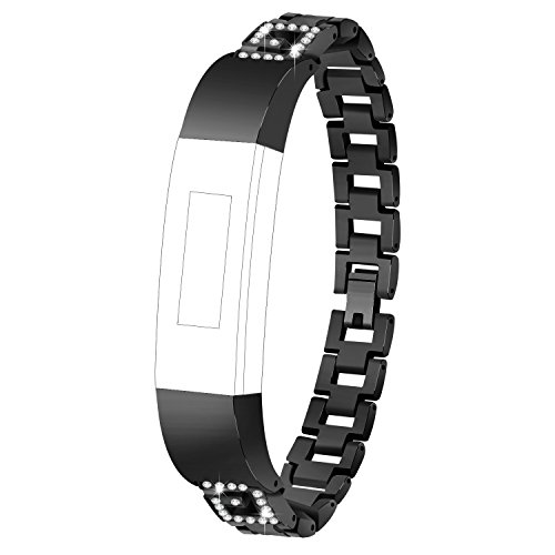 TenYun for Alta HR & Alta Bands Replacement Luxury Color Crystal Embellishment Bling Bling Man & Woman Stainless Steel Metal Band Strap/Bangle for Fitbit Alta HR & Alta (G Font Crystal-Black) ()