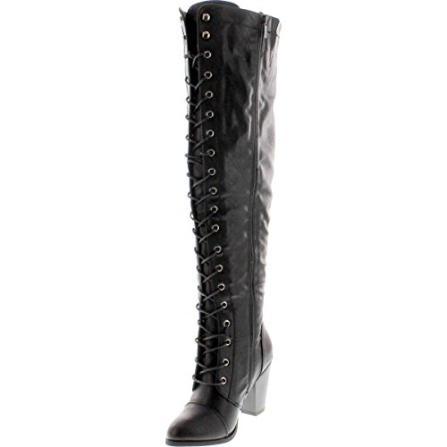 Image of Forever Camila-48 Womens Chunky Heel Lace Up Over The Knee High Riding Boots,Black,10