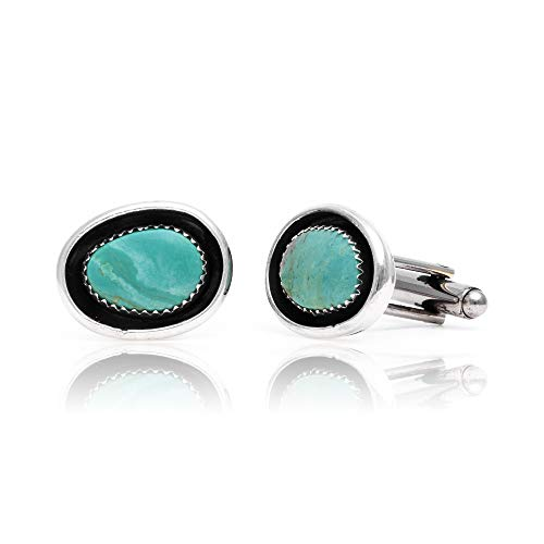 $270Tag Natural Turquoise Silver Certified Navajo Native American Cuff Links 19124 Made by Loma Siiva ()
