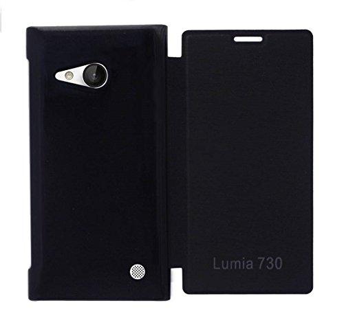 COVERNEW Flip Cover for Nokia Lumia 730  Black