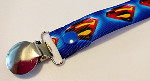 Superman Pacifier clip binky soother strap ()
