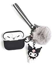 iFiLOVE Compatible with Airpods Pro Case, Girls Kids Cute Cartoon 3D Kuromi with Plush Ball Keychain Wristband Strap Soft Silicone Protective Case Cover for Apple Airpods Pro Case 3 (Black Kuromi)