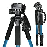 55'' Compact Professional DSLR Camera Tripod, Travel Portable stand for Canon, Nikon, Sony, Samsung, Olympus, Panasonic and mini projector