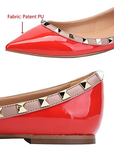 Camssoo Vrouwen Klassieke Klinknagels Puntige Teen Slip Op Comfort Flats Kleding Pompen Rode Schoenen Patant Pu