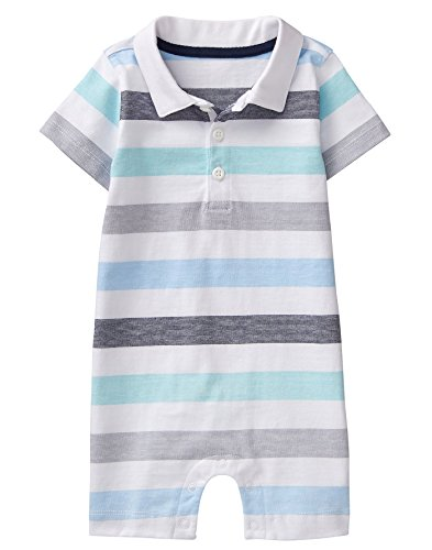 Gymboree Baby Boys Short Sleeve Striped Polo Onesie, Multi Blue, 12-18 mo
