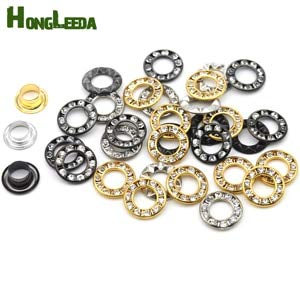 VT BigHome 100sets/lot 3 Colors 12mm Round Metal Brass Rhinestone Eyelets Crystal Diamond Grommets Glass Eyelets