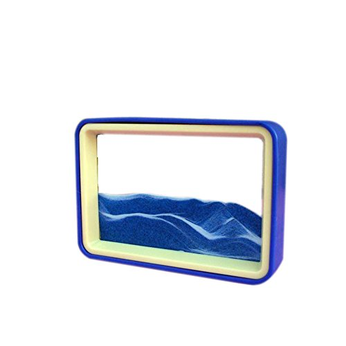 DeerBird Flowing Sand Drawing 3D Dynamic Sand Picture Blue and Yellow Frame Art with Transparent Glass Abstract Moving Sand Painting (Blue (Glass Transparent Picture Frame)
