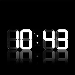 DIGOO DC-K3 Multi-Function Large 3D LED Digital Wall Clock Alarm Clock With Snooze Function 12/24 Hour Display White