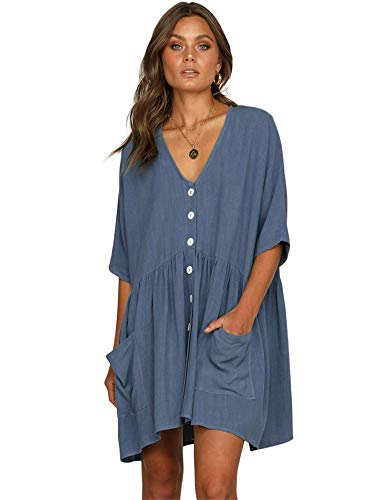 - Scioltoo Women's Loose V-Neck Half Sleeve Pleated Knee Elastic Waist Dress Blue XL