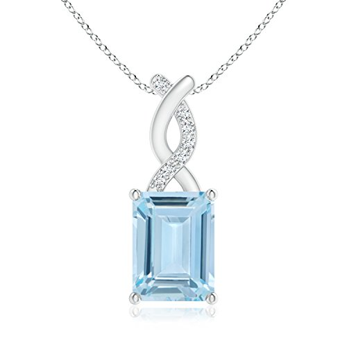 - ANGARA Emerald Cut Aquamarine Solitaire Pendant for Women with Diamond Entwined Bale in 14K White Gold (8x6mm Aquamarine)