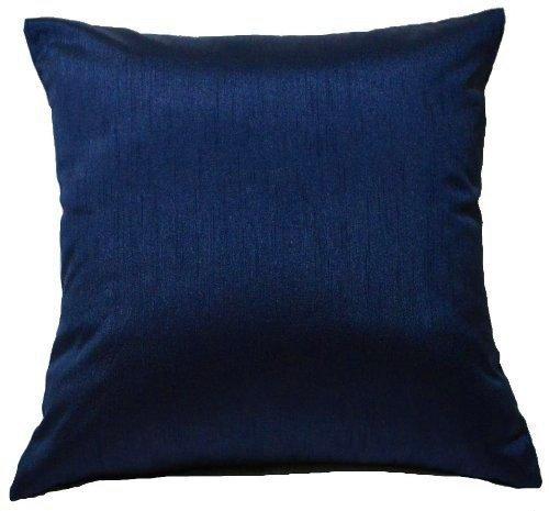 DreamHome 26 X 26 Inches Faux Silk Decorative Euro Pillow Cover/Sham (Navy) (Blue Euro Sham)