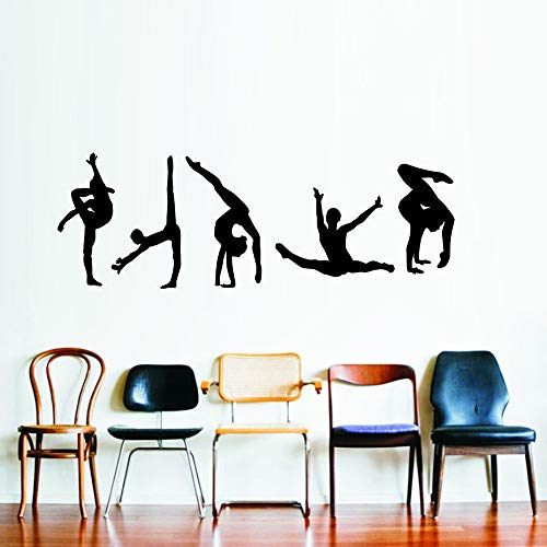 WOVTCP Yoga Group Poses Silhouette Wall Decal Vinyl Sticker Dance Studio Bedroom Wall Home Decor