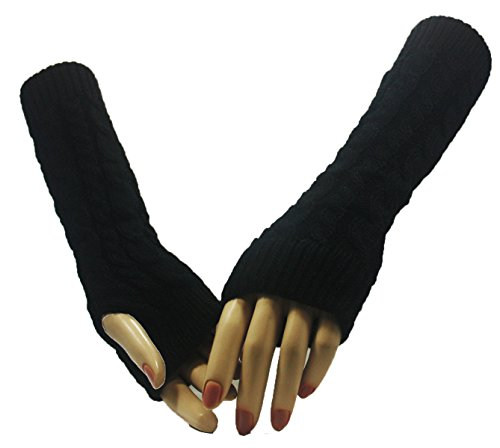 Black Twin Cross Arm Warmer Gloves