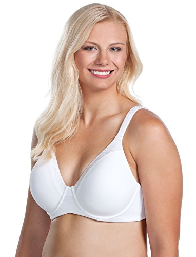 Leading Lady Women's Plus-Size Plus Size Luxe Body T-Shirt Bra Wirefree Bra, White, 50D