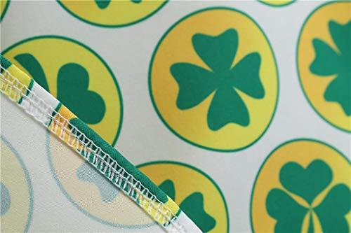 Hojas Negro Oliviavan Vestido Plisado De Day Cuatro Cintura Mangas Verano Trébol Cóctel Mujer Elegante Alta Patrick's St Estampado Mujeres Sin Línea Una Para BfSqgB6w