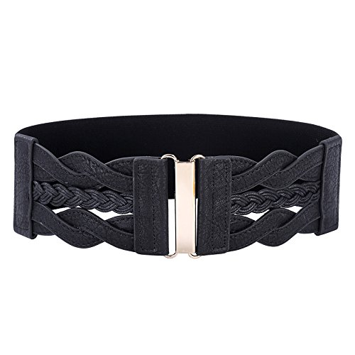 Vintage Leather Elastic Waist Belt Fashion Wide Belts for Women (Black, L) (Leather Waist Cinch Belt)