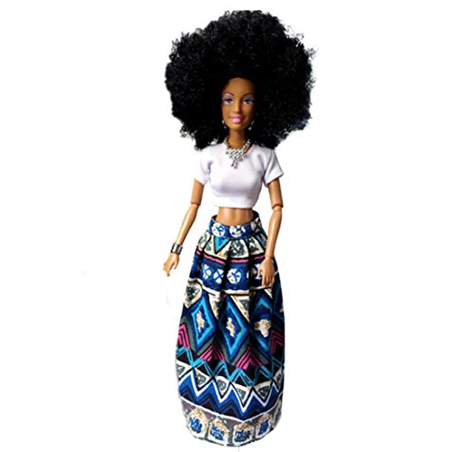 Rambling Barbie African American Dolls Baby Movable Joint Toy Best Birthday Gift(Blue)