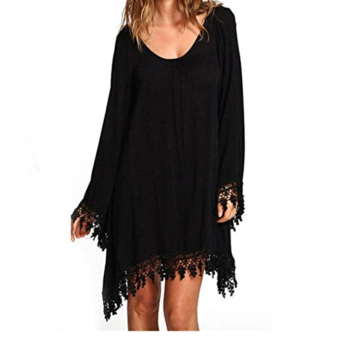 JUNKE Casual Women Black Long Sleeve Tassels Tunic Cover Up Loose MIni Dress (L)