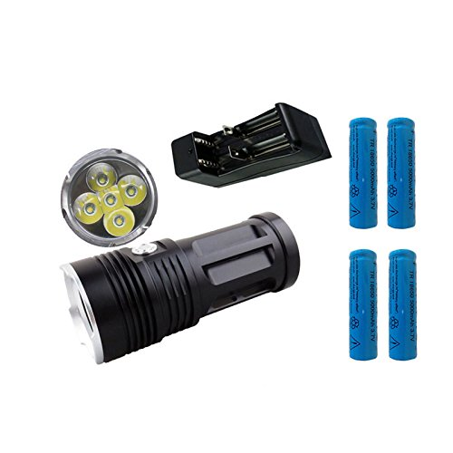 Price comparison product image Mixxar MI-5 10000LM Torch 5x Cree XM-L T6 tactical led flashlight torch and 4x18650 battery with one charger can charger 2 battery