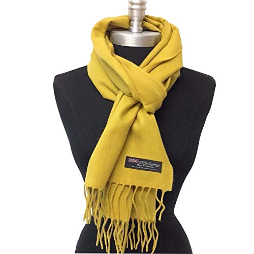 Cashmere Scarf Warm Made In Scotland Long Soft Shawl Winter Wrap Men - Mustard Color