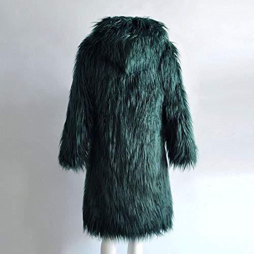 Grün Cappuccio Transizione Invernali Lunga Pelliccia Manica Alta Di Monocromo Giacca Accogliente Giacche Party Lanoso Caldo Donna Con Pingrog Qualità xUFqdETx