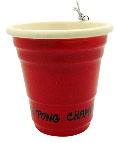 Westman Works Beer Pong Champ Red Cup Christmas Ornament Ceramic Party Trophy Decoration, 2 inch
