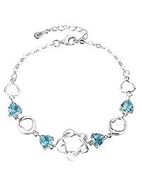 "EleQueen 925 Sterling Silver CZ Flower Love Heart Bracelet Chain, 5.6""+2.8"" Extender"