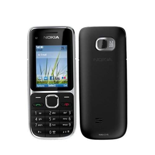 Nokia - C2-01 Black Unlocked GSM QuadBand 3G Bar Cell Phone