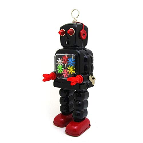 BeesClover Tin Robots Antique Metal Wind up Toys Collection Toys Home Decor Creative Gift for Children Gear Robot Black One Size