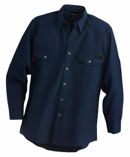 Workrite 290NX45NB48-0R Flame Resistant 4.5 oz Nomex IIIA Long Sleeve Utility Shirt, Button Cuff, 48 Chest Size, Regular Length, Navy Blue by Workrite