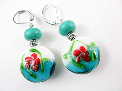 Turquoise Blue Lampwork Glass Beaded Dangle Drop Earrings Leverback Artisan Handmade Red White Gemstone Bead Jewelry for Women ()