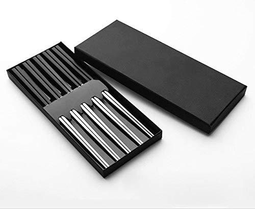 Farmerly 5 Pairs High-Grade 304 Stainless Steel Titanium Plating Square Chopsticks with Box Korean Chop Sticks Gift Tableware   Black Head Silver