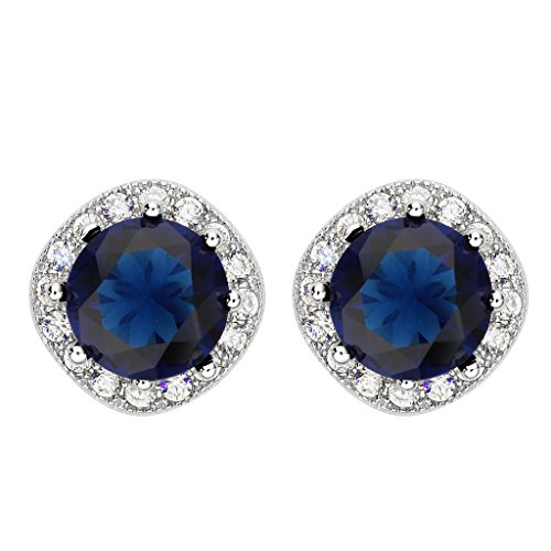 Tilt Womens Ring (EVER FAITH 925 Sterling Silver Cubic Zirconia Elegant Cushion Cut Halo Stud Earrings Blue)