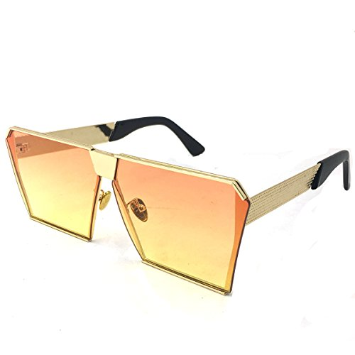 Laura Fairy Brand Square Metal Frame New Design Uv400 Unisex Sunglasses For Men And Momen (gold - Glasses Funky Mens