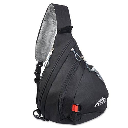 Sling Backpack by RiteTrak Sports - 2017 Edition, Best Lightweight Multi-Use Pack for Travel Hiking Biking or Fitness, One Strap Shoulder or Crossbody Bag (Night Sky Black)