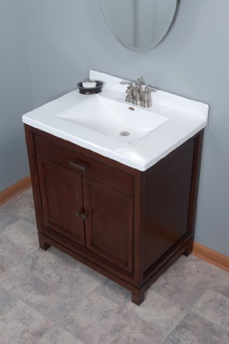 Imperial Fw3122spw Center Wave Bowl Bathroom Vanity Top Solid White Gloss Finish 31 Inch Wide
