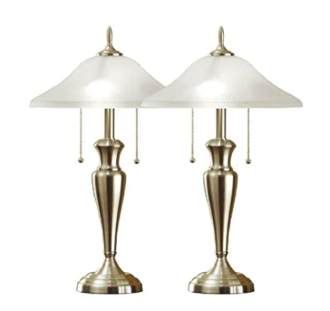Hammered USA Table Lamps Twin Classic Glass with Steel Shades Cordinates24 Pack Inch Brushed Set Artiva WxCBoreQd