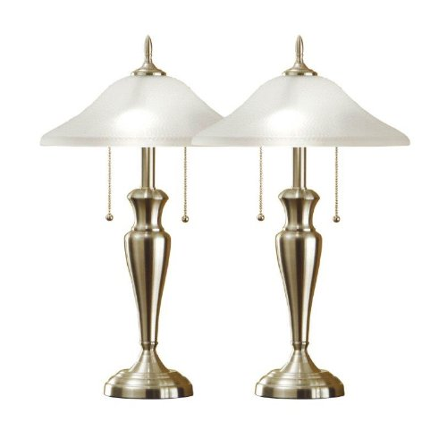 (Artiva USA Twin-Pack Classic Cordinates, 24-Inch Brushed Steel Table Lamps Set with Hammered Glass Shades)