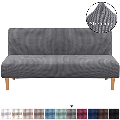 H.VERSAILTEX Armless Futon Cover Stretch Sofa Bed Slipcover Protector Elastic Feature Rich Textured Lycra High Spandex Small Checks Jacquard Fabric Sofa Shield Futon Cover, Machine Washable, Gray