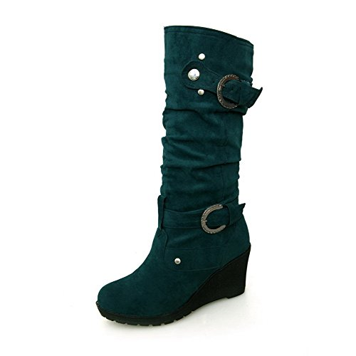 AllhqFashion Womens Mid-Top Solid Pull-On Round Closed Toe High-Heels Boots Green pGKOvr