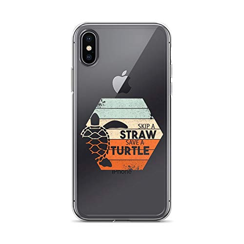 - iPhone X/XS Pure Clear Case Crystal Clear Cases Cover Skip A Straw Save Turtle Funny Turle Art Transparent