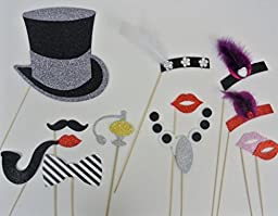 Photo Booth 1920 Inspired Great Gatsby Photo Booth Party Props Mustache on a Stick Wedding Photo Booth Props Birthdays